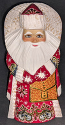 MARVELOUS HAND PAINTED RUSSIAN GOLDEN UZOR SANTA CLAUS w/MAIL SATCHEL #6975