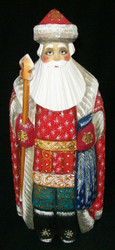 HANDPAINTED RED, WHITE & GOLD RUSSIAN SANTA CLAUS #2590 w/ BLACK BOOTS