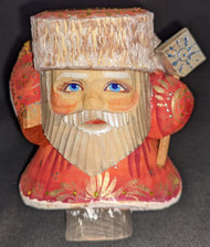 FUN FAT SHORT RUSSIAN HAND CARVED & HAND PAINTED SANTA CLAUS #5189