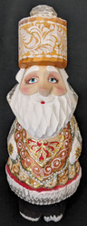 A WONDERFUL HANDPAINTED RUSSIAN SANTA CLAUS w/ TSAR STYLE HAT & BACKPACK #2618
