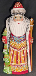 AN AMAZING HAND CARVED & HAND PAINTED RUSSIAN LINDEN WOOD SANTA CLAUS #7592