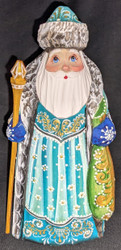 AN AMAZING HAND CARVED & HAND PAINTED RUSSIAN LINDEN WOOD SANTA CLAUS #7585