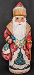 DELIGHTFUL RED, BLUE & GOLD RUSSIAN HAND PAINTED SANTA CLAUS #1131 w/PACK