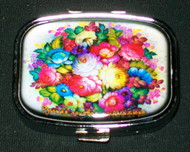 BRIGHTLY COLORED FLORAL BOUQUET ON RUSSIAN PILL BOX #1304