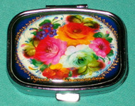 BRIGHT FLOWERS ON HAND CRAFTED RUSSIAN PILL BOX #1307