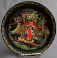 HAND PAINTED RUSSIAN FAIRY TALE COLLECTOR PLATE #1006 - PRINCESS & 7 KNIGHTS