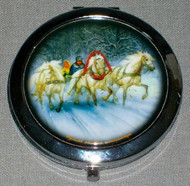 WHITE HORSES DASHING THROUGH THE SNOW - RUSSIAN TROIKA ON COMPACT MIRROR #0013