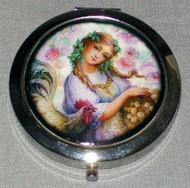 PASTEL COLORED FLOWERS w/ LOVELY MAIDEN ON COMPACT MIRROR #0021