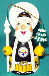 WOW! HAND CRAFTED PITTSBURGH STEELERS WOODEN SANTA CLAUS TREE ORNAMENT