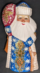 LOVELY HAND PAINTED RUSSIAN GOLDEN UZOR SANTA CLAUS #0397 WINTER BLUE & GOLD