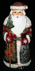 Gorgeous Golden Uzor Hand Painted Santa w/ Golden Floral Pattern #6075