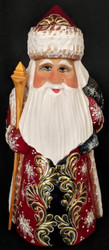 A RED & GOLD HAND CARVED & PAINTED RUSSIAN GOLDEN UZOR SANTA CLAUS STATUE #2368