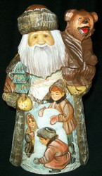 LOVELY RUSSIAN HAND PAINTED SCENIC SANTA CLAUS w/ LITTLE BEAR #1265