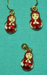 Beautiful and Fun Matryoshka Nesting Doll Shaped Earrings & Charm #8497