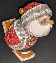 FUN LITTLE SANTA SKIER / SKATER HAND CARVED & PAINTED RUSSIAN SANTA CLAUS #5275