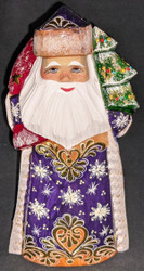 GORGEOUS HAND PAINTED RUSSIAN GOLDEN UZOR SANTA CLAUS w/ CHRISTMAS TREE #6884