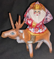 FUN HAND PAINTED RUSSIAN LINDEN WOOD SANTA CLAUS RIDING A REINDEER #6746