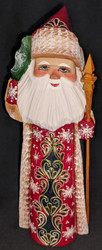 DELIGHTFUL EUROPEAN STYLE GOLDEN UZOR HAND PAINTED SANTA w/ CHRISTMAS TREE #6337