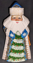 GOLDEN UZOR GRANDFATHER FROST w/CHRISTMAS TREE #6898 HAND PAINTED RUSSIAN SANTA