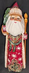 DELIGHTFUL EUROPEAN STYLE GOLDEN UZOR HAND PAINTED SANTA w/ CHRISTMAS TREE #6375