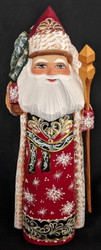 DELIGHTFUL EUROPEAN STYLE GOLDEN UZOR HAND PAINTED SANTA w/ CHRISTMAS TREE #6388