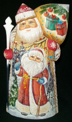 MARVELOUS RUSSIAN HAND PAINTED SANTA CLAUS - SANTA & SNOWMAN #9074