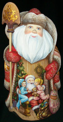 SPECTACULAR RUSSIAN HAND PAINTED SCENIC SANTA CLAUS w/ADORABLE CHILDREN #8274
