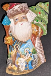 DIVINE HANDPAINTED NATIVITY SCENE ON RUSSIAN SANTA CLAUS w/HOLY FAMILY #1356
