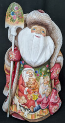 SPECTACULAR RUSSIAN HAND PAINTED SCENIC SANTA CLAUS w/ADORABLE CHILDREN #4549