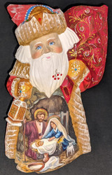 LOVELY HAND PAINTED RUSSIAN SANTA w/NATIVITY SCENE - HOLY FAMILY & LAMB #1408