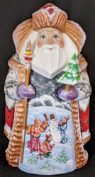 FUN, BRIGHTLY COLORED HAND PAINTED RUSSIAN SANTA #3769 - FRIENDLY SNOWMAN