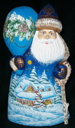 FUN, BRIGHTLY COLORED, HAND PAINTED RUSSIAN SANTA #0415 - SANTA'S WORKSHOP