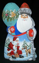 FUN, BRIGHTLY COLORED, HAND PAINTED RUSSIAN SANTA #0433 - FRIENDLY REINDEER