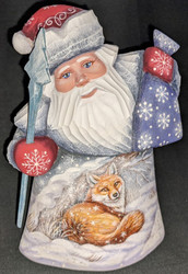 LOVELY HAND PAINTED RUSSIAN SCENIC SANTA CLAUS w/FAMILY OF FOXES#6045