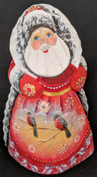 A FANTASTIC HAND CARVED & HAND PAINTED SCENIC SANTA CLAUS #1215 w/LOVE BIRDS
