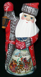 BRIGHTLY LIT LANTERN - HANDPAINTED RUSSIAN SANTA CLAUS w/TRADITIONAL TROIKA 1530