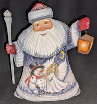 HAND CARVED & HAND PAINTED RUSSIAN SCENIC SANTA CLAUS w/LANTERN & ANGEL #7790