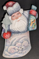 LOVELY HAND PAINTED RUSSIAN SCENIC SANTA CLAUS - POLAR BEAR FAMILY w/CUBS #6027