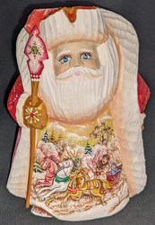 A BEAUTIFUL SCENIC HAND PAINTED RUSSIAN SANTA CLAUS #1455 w/TRADITIONAL TROIKA