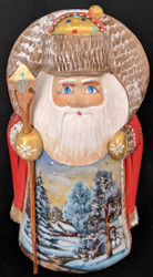 BEAUTIFUL HAND PAINTED SCENIC SANTA CLAUS #1478 – WINTER FOREST SCENE