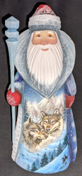 MARVELOUS RUSSIAN HAND PAINTED SANTA CLAUS - WILD WINTER WOLVES #8577