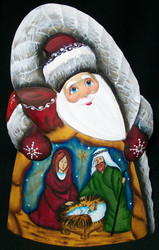 A LOVELY RED HAND PAINTED RUSSIAN SANTA w/ NATIVITY SCENE #8370