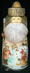 HAND PAINTED SCENIC SANTA STATUE - CHILDREN PLAYING IN THE SNOW w/ SNOWMAN #6158