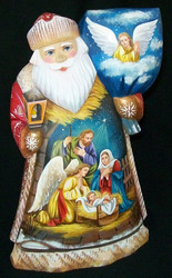 REMARKABLE BRIGHTLY COLORED RUSSIAN SANTA – NATIVITY w/ MARY & BABY JESUS #8067