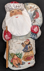 FANTASTIC HAND PAINTED RUSSIAN SCENIC SANTA w/CHILDREN PLAYING IN THE SNOW #0298