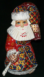 HANDPAINTED LOVELY BRIGHT RED & GOLD STOOPED SANTA CLAUS w/ PACK #5577