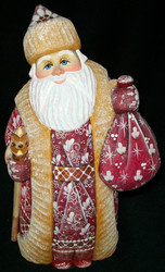 DELIGHTFUL HAND CARVED & HAND PAINTED RUSSIAN LINDEN WOOD SANTA CLAUS #8869