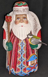 MARVELOUS HAND PAINTED RUSSIAN SANTA CLAUS w/NUTCRACKER SOLDIER & BIRD #8853