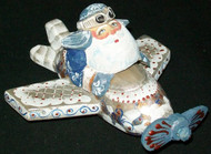 FUN HAND PAINTED RUSSIAN SANTA CLAUS FLYING AN AIRPLANE #5950