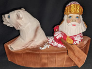 BEAUTIFUL RUSSIAN HAND CARVED & PAINTED SANTA CLAUS & POLAR BEAR IN A CANOE 2714